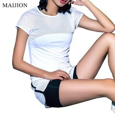 f9fc31a5c3 MAIJION Sexy Mesh Breathable Yoga Shirts Tops Women Quick Dry Fitness  Sports T Shirt For Gym
