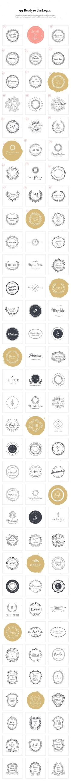 Logo Design Kit by VladCristea on @creativemarket Creative logo design inspiration, perfect for a modern business branding with perfect font and typography selection. Take some ideas or use this feminine, elegant, nature, floral and also hipster set.