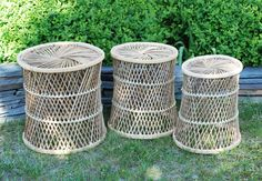 Collection of 3 Natural Vintage Wicker Nesting Tables. $58.00, via Etsy.