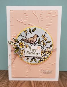 Lovely Note Cards with the Bird Ballad DSP in Petal Pink - Christy's Stamping Spot Vintage Christmas Cards, Vintage Cards, Prim Christmas, Happpy Birthday, Stamping Up Cards, Rubber Stamping, Embossed Cards, Bird Cards, Mothers Day Cards