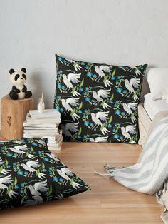 'Flowerlove Bird' Throw Pillow by SannaKallio Flower Garlands, Victorian Era, Throw Pillows, Bird, Contemporary, Retro, Simple, Floral, Pattern