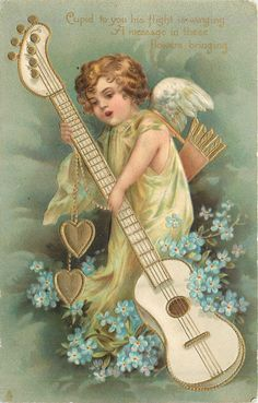 Full Sized Image: CUPID TO YOU HIS FLIGHT IS WINNING A MESSAGE IN THESE FLOWERS BRINGING cupid supports large guitar, blue forget-me-nots - TuckDB