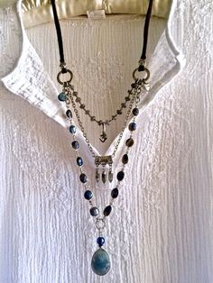 labradorite lover- triple strand boho necklace beaded chains om charm silver & leather sundance style all gemstone pendant long by sweetassjewelry on Etsy: Beaded jewelry Leather Jewelry, Wire Jewelry, Boho Jewelry, Jewelry Crafts, Jewelery, Jewelry Accessories, Handmade Jewelry, Jewelry Necklaces, Jewelry Ideas