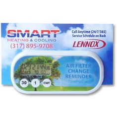 AFFORDABLE, HELPFUL, & LONG LASTING!  Help your clients and community conserve energy and save money with the Timeflyz Air Filter Change Reminder Business Card Holder...a handy promotion that solves a common problem for most homeowners ... remembering to change their air filter. The Air Filter Change Reminder Business Card Holder features a rare earth magnet, 1.5v long lasting Maxell button cell battery, AND a permanent foam adhesive. Lightweight and only 6mm thick, the AFCR Timer ...