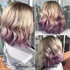 Icy blonde with purple violet peekaboos and a cute textured bob!  See this Instagram photo by @tiffanyshairstudioo • 10 likes