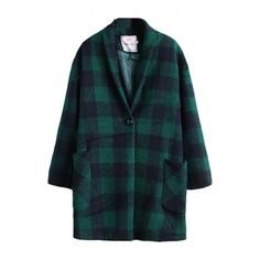 Lapel Plaid Long Sleeve Single Breasted Double Pockets Coat ($45) ❤ liked on Polyvore featuring outerwear, coats, bhalo, lapel coat, tartan coat, plaid coat, blue coat and long sleeve coat