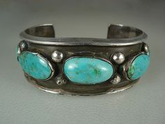 Wide Old Navajo Hand Crafted Silver 5 Large Turquoise Row Bracelet | eBay