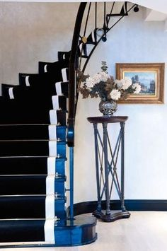 the the idea of painting a bright color along stairs.