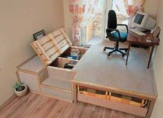 raised floor with storage for home office