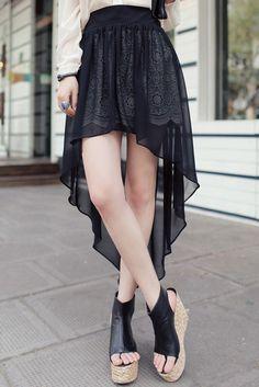 Black Crochet Contrast Chiffon High Low Skirt
