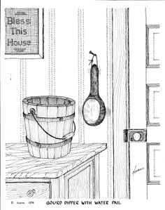 Pen and ink drawing of vintage water pail and gourd dipper.