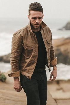 Taylor Stitch The Long Haul Jacket in Field Tan Waxed Canvas.