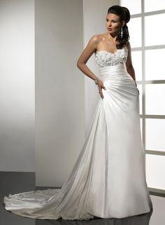 Sheath Sweetheart Flowers Embellished Bustline Satin Wedding Dress-ws0063, $234.95