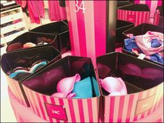 9 Pink Bins Cover of Arc – Fixtures Close Up Lingerie Store Design, Pink Lingerie, Visual Merchandising, Carousel, Shoe Rack, Cure, Victoria's Secret, Retail, Display