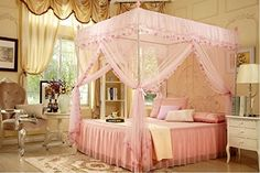 4 Corners Post Pink Elegant Mosquito Net Bed Tent Canopy Curtain Netting Princess (Twin) ** Read more reviews of the product by visiting the link on the image.