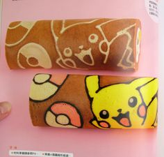Kawaii Swiss Cake Roll Tutorial - piping on a design Japanese Roll Cake, Japanese Treats, Swiss Roll Cakes, Swiss Cake, Sweet Cakes, Cute Cakes, Big Cakes, Pokemon Torte, Pokemon Cakes