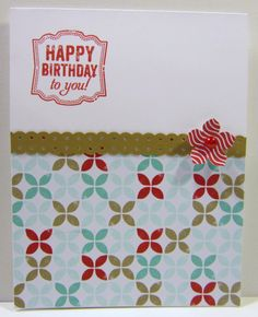 """""""Happy Birthday to you!"""", Label Love, Crumb Cake, Fresh Prints DSP, Petite Petals, Real Red Classic Ink, Border Dotted Scallop Ribbon Punch"""