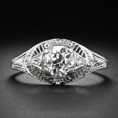 1.00 Carat Diamond and Platinum Antique Engagement Ring - 10-1-5665 - Lang Antiques