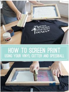 How to Screen Print Using Your Vinyl Cutter, Oracal and Speedball {VIDEO TUTORIAL} Hey, HTV fans, have you tried screen printing with your vinyl cutouts rather than using HTV? It's easy and only requires a few more supplies! Full video tutorial an Cricut Vinyl, Vinyl Diy, Vinyl Crafts, Vinyl Projects, Paper Crafts, Cricut Air 2, Cricut Help, Cricut Craft Room, Diy Craft Projects