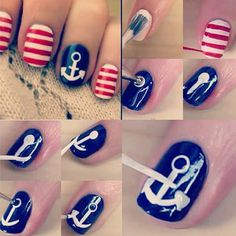 I did this one on my toes ndd it came out perf... Anchor w/ stripes nail art tutorial
