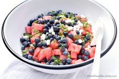 This refreshing Blueberry Watermelon Feta Mint Salad is made with a simple balsamic dressing for a perfect sweet savory salad for any summer menu.