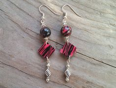 Pink and Black Zebra dangle earrings - Item #E1011 - Polymer clay earrings - pinned by pin4etsy.com