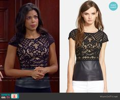 Maya's lace and leather top on The Bold and the Beautiful.  Outfit Details: http://wornontv.net/54753/ #TheBoldandtheBeautiful
