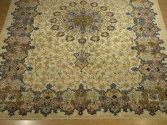 3400 9 X 12 Handmade Hand Knotted Antique Persian Royal Kashan Wool Rug Circa 930s