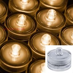 Pack of 12 pieces Submersible Battery LED Tea Light Candles Flameless Waterproof for Wedding, Warm White Water submersible Event/Party/holiday