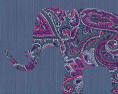 Paisley Elephant Art Print || by ElephantTrunkStudio