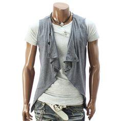 Doublju Mens Stylish Sleeveless Cardigan (DT12) : Jackets & Coats