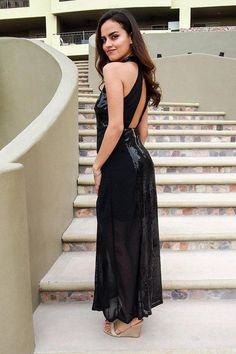For maximum glamor and glitz, the True Love Black Sequin Halter Maxi Dress is the look! This stunning dress starts at a high halter neckline with cutout princess seamed bodice. Sheer chiffon straps top the open back. Event Dresses, Holiday Dresses, Fall Dresses, Short Dresses, Party Dresses, Dinner Dresses, Long Gowns, Club Dresses, Cocktail Dresses