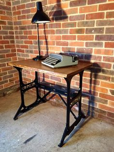 Large Vintage Antique Singer Sewing Machine base table with beautiful solid oak top. Larger than the very popular treadle base tables, this