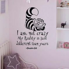 Alice au pays des merveilles Wall Decals cite Cheshire Cat, que je suis pas fou vinyle Wall Sticker Art chambre pépinière Home Decor Q035