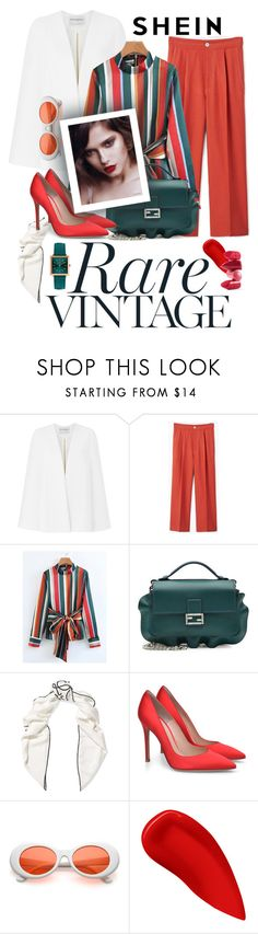"""""""Shein italia"""" by isabella-seelenkunst ❤ liked on Polyvore featuring Amanda Wakeley, MANGO, Fendi, Loewe, Lipstick Queen, Rossetto, Henry London, Italia and shein"""