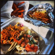 delicious gourmet tacos courtesy of #TinStar…some of the best tacos i've had. (pictured: number 9 taco, grilled fish taco, smokey texan taco and sweet potato fries)