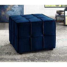 Velvet Furniture, Blue Furniture, Chair And Ottoman, Armchair, Seat Storage, Upholstered Storage Bench, Leather Pouf, Blue Velvet, Cube
