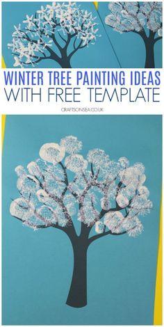 winter tree painting ideas for kids with free template wintercrafts kidscrafts preschool crafts 517702919663501251