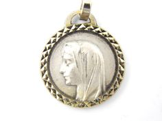 Vintage Virgin Mary - Our Lady of Lourdes Catholic Medal - Holy Virgo Religious Charm - 42A by LuxMeaChristus on Etsy