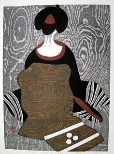 Kiyoshi Saito, Japanese woodblock: Maiko Kyoto (Novice Geisha), 1960.