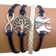 Blue Elephant and Tree of Life Arm Party Bracelet
