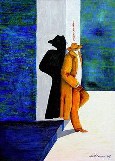 MUURDECORATIE schilderij de alleen man
