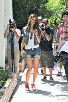 Alessandra Ambrosio in a Colcci Denim Jacket and Denim Shorts : Celebrities in Designer Jeans from Denim Blog (July 7, 2012)