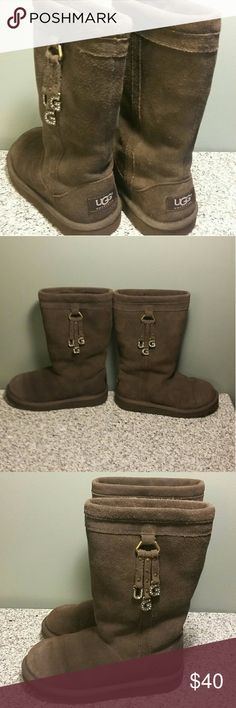 Kids size 13 uggs Chocolate brown tall uggs. There is a small tear which is shown close up in one of the pics. UGG Shoes Boots
