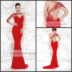 2014 Sexy New Sheer One Shoulder Red Satin Evening Dresses | Buy Wholesale On Line Direct from China