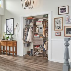 It's almost time for those April showers! Make room in your entryway closet for galoshes, raincoats and umbrellas. Elfa Closet System, Best Closet Systems, Entryway Closet, Closet Bedroom, Mudroom, Ikea Algot, California Closets, Closet Designs, Storage Spaces