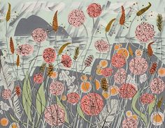 Angie Lewin :: Lichen and Thrift, screenprint