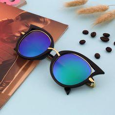 Fashion Retro Metal Frame Sexy Cat Eye Sunglasses for Women Coating Brand vintage sun glasses female oculos de grau femininos