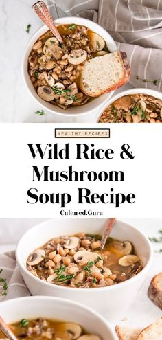 There's nothing like a warm, healthy and hearty soup on a cold day! This wild rice and mushroom soup is my favorite soup this fall. Healthy Soup Recipes, Healthy Eating Tips, Healthy Meal Prep, Whole Food Recipes, Vegetarian Recipes, Cooking Recipes, Chili Recipes, Easy Recipes, Chowder Recipes