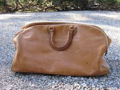 vintage distressed tan leather large travel bag by WieseVintage